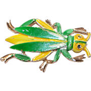 Retro Large Beetle Pin Green & Yellow Enameled Insect Brooch