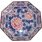 Large Octagonal Imari-style Low Bowl in Blue & Rust Japan Signed