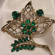 Early Eisenberg Sterling Emerald Color Rhinestone Leaf Brooch