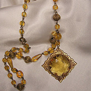 Vintage Czech Necklace In Shades of Amber
