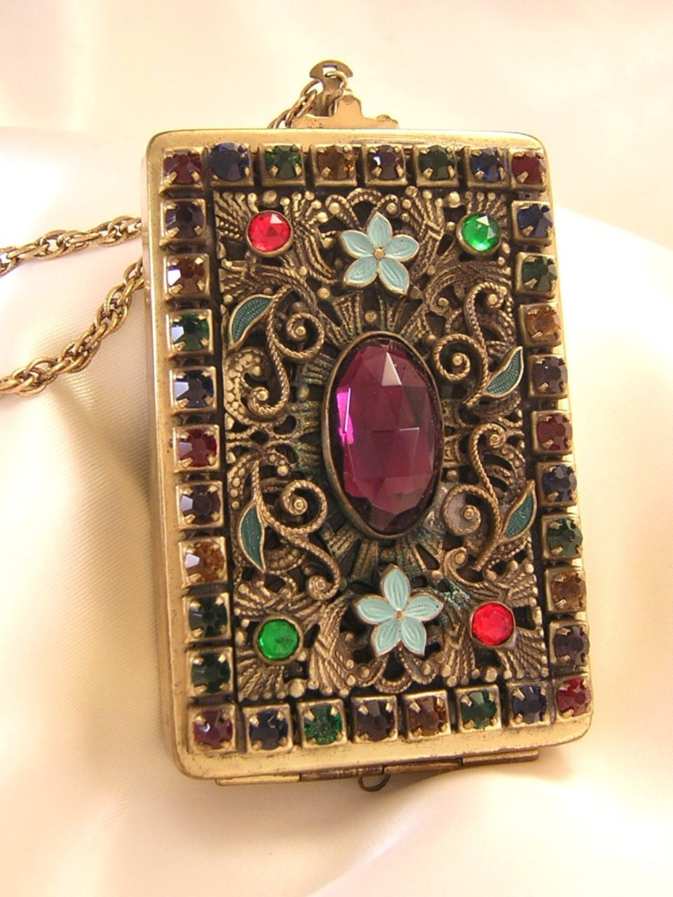 Czech  Art Deco Jeweled and Enamelled Compact  Dance Purse
