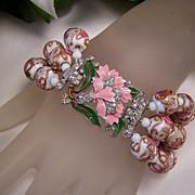 Art Deco Venetian Bead  Bracelet W/ Enameled Clasp