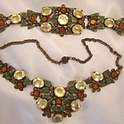 Vintage Czech Citrine & Enamel Necklace & Bracelet