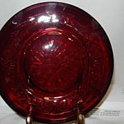 Vintage 1930 McKee Ruby Rock Crystal Plain Flower 7.5 Inch Salad or Dessert Plate