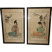 Vintage Japanese Silk Paintings