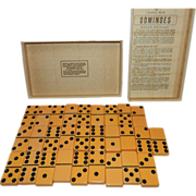Vintage Puremco Marblelike Double Six Dominoes Set