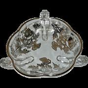 Vintage Silver City Handled Crystal Bon Bon Dish