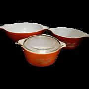Vintage Pyrex Autumn Harvest Cinderella Nesting Bowls