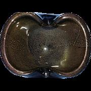 Vintage Alfredo Barbini Murano Mid Century Jet Black Gold Flecks Italian Art Glass Bowl Dish
