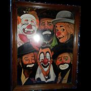 Vintage Artist Sally Evans Clown Print
