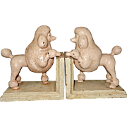 Vintage Pink Poodle Cast Iron Bookends