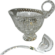 Vintage Violetta Leaded Crystal Gravy Boat with Glass Ladle Made in Poland