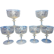 Tiffin-Franciscan Cadena Clear Short Sherbet Glasses