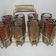 Vintage Culver Asian Design Highball Glasses with Carrier