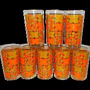 Vintage Mid-Century Tea or Water Glasses –Orange with Flowers