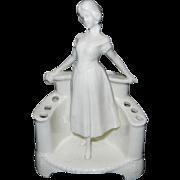 Vintage White Porcelain Lady Figurine Flower Frog