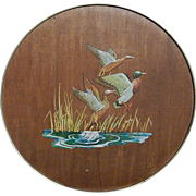 Vintage Smith Crafted Chicago Wood and Tin Candy/Cookie  Tin with Raised Mallard Ducks