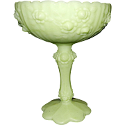 Vintage Fenton Lime Green Pedestal Compote with Rose Pattern