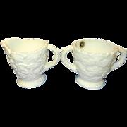 Westmoreland Milk Glass Sugar Dish and Creamer Embossed Maple Leaf Design