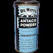 Vintage De Witt's Antacid Powder Tin 1950's