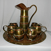 Vintage Cobre Laton Brass and Copper Service Set