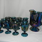 SALE Vintage Indiana Carnival Glass Harvest Pitcher and Goblets