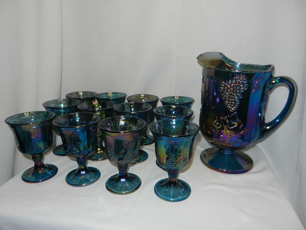 Vintage Indiana Carnival Glass Harvest Pitcher and Goblets