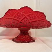 Vintage Westmoreland Miniature  Fan File Ruby Fruit Bowl
