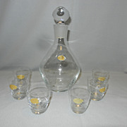 Vintage Handgeschitffen Ecth Kristal Decanter and Shot Glasses