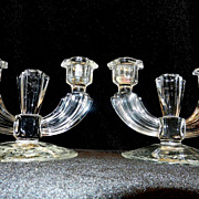 Vintage Crystal Double Candlesticks