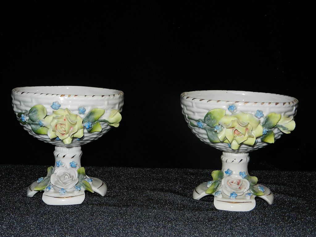 Vintage German Small  Decorated Porcelain Compote or Dish
