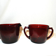 Vintage Royal Ruby by Anchor Hocking Sugar and Creamer