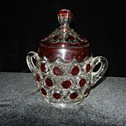 Vintage Red Block Sugar Bowl