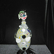 Vintage Murano Hand blown Clown Decanter- Large