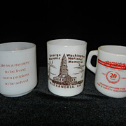 Vintage Milk Glass Coffee Mugs- Federal, Glassbake,