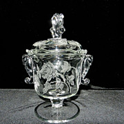 Vintage Heisey Rose Seahorse Handles Candy Dish with Lid