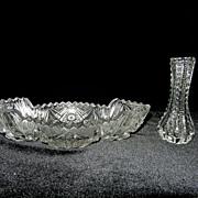 Vintage Imperial Glass Crystal BonBon Dish and Bud Vase
