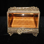 Vintage 24 kt Gold Filigree Beveled Glass Ormalu Jewelry Casket or Box
