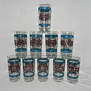 Vintage Tiffany Style Stain Glass Pepsi Glasses