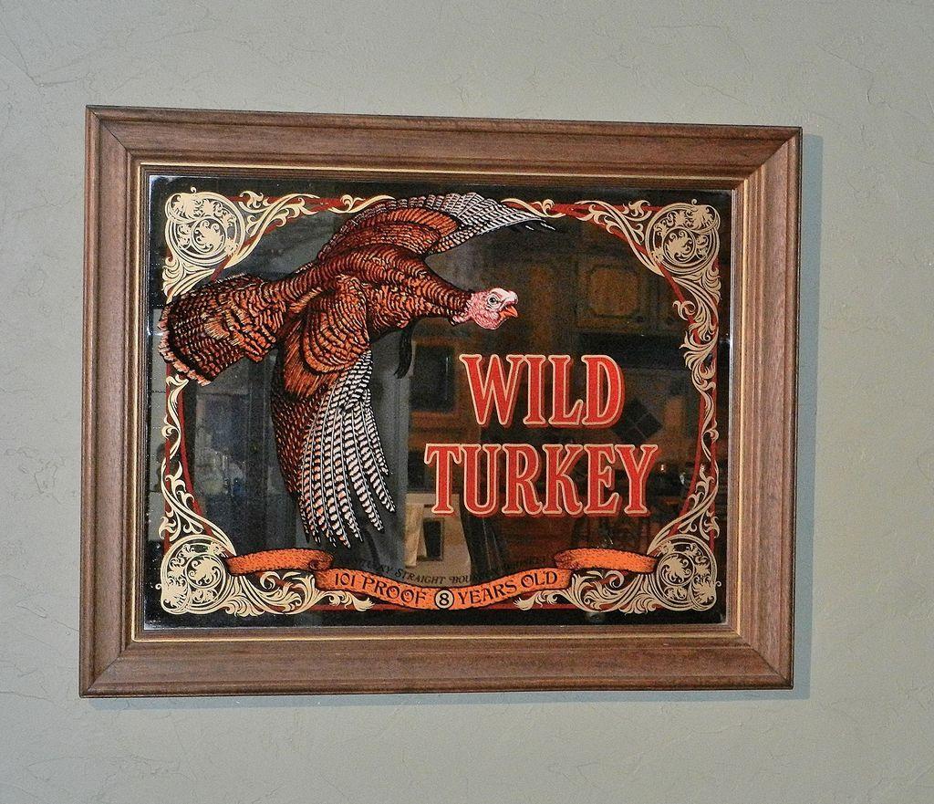 Vintage Large Wild Turkey Mirror Bar Sign From Rubylane