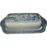 Vintage Currier and Ives Royal Blue Covered Butter Dish