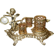 Vintage 24kt Gold Filigree Cherub Lipstick and Perfume Holder