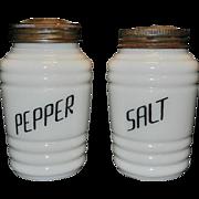 SOLD Vintage Range Top Milk Glass Salt and Pepper Shakers