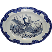 Vintage Large Oval Blue Duck Serving Platter