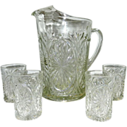 Vintage Pressed Glass Pitcher and Juice Glasses