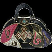 Vintage Faux Leather Multi-colored Patchwork NAS/Alentino Handbag