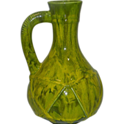 Vintage 60's Retro Green Glazed Pottery Pitcher