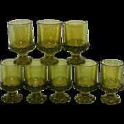 Vintage Franciscan Madeira Olive Green Juice or Wine Glasses