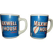 Vintage Maxwell House Coffee Cup Blue Background General Foods