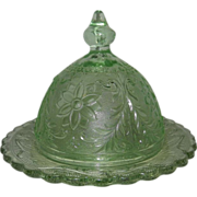 Vintage Tiara Indiana Sandwich Glass Chantilly Green Covered Butter Dish